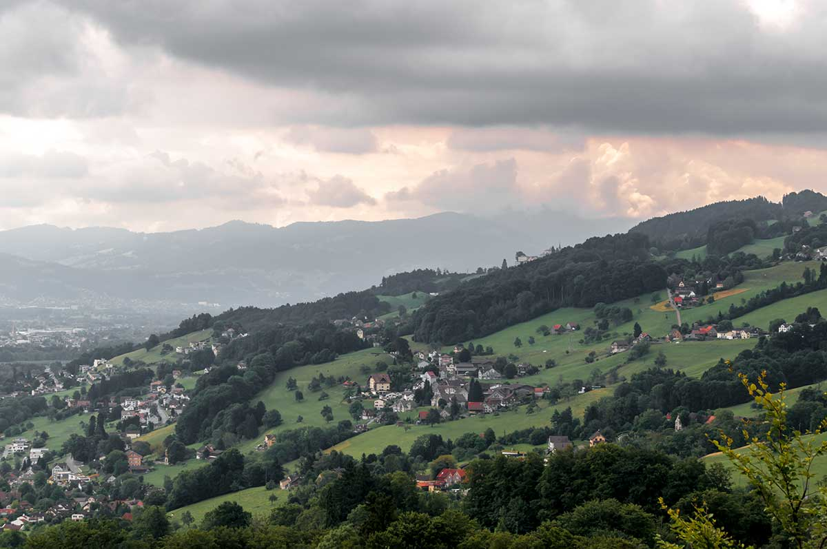 Aussicht von der Zahnradbahn Rorschach-Heiden über den Bodensee